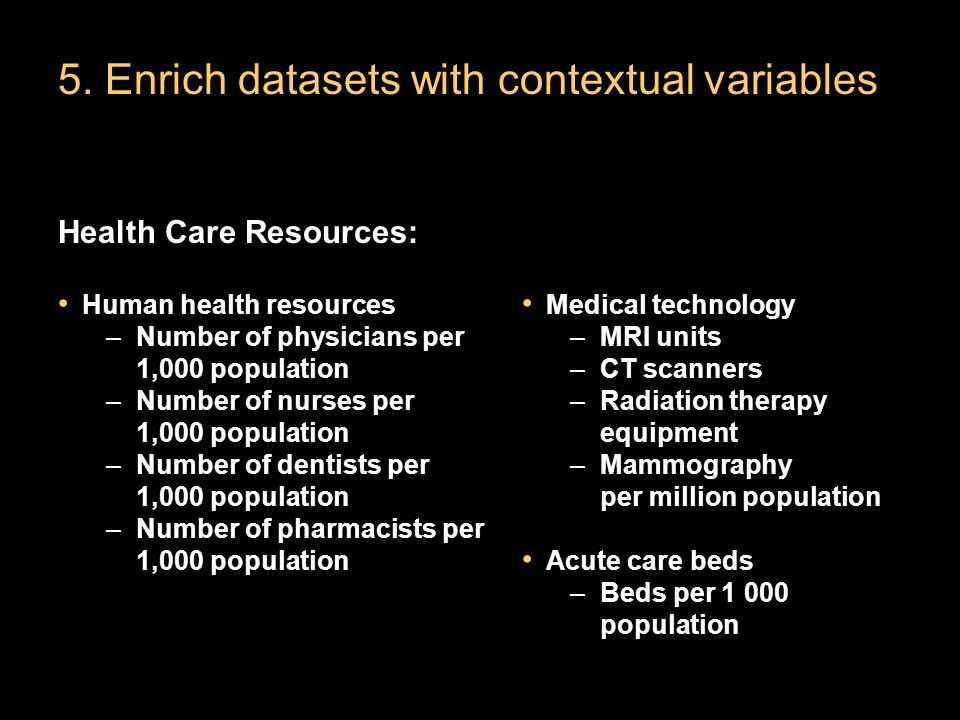 5. Enrich datasets with contextual variables Health Care Resources: Human health resources –Number of physicians per 1,000 population –Number of nurse