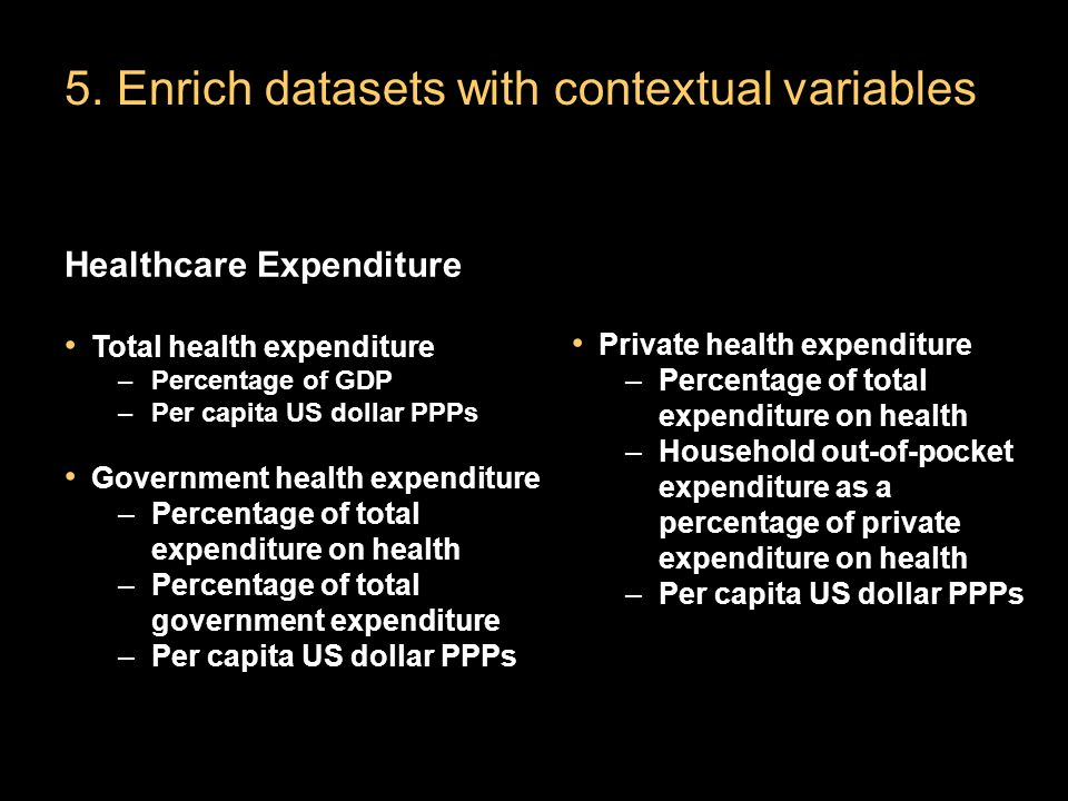 5. Enrich datasets with contextual variables Healthcare Expenditure Total health expenditure –Percentage of GDP –Per capita US dollar PPPs Government