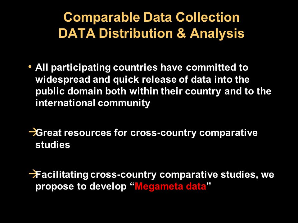 Comparable Data Collection DATA Distribution & Analysis All participating countries have committed to widespread and quick release of data into the public domain both within their country and to the international community Great resources for cross-country comparative studies Facilitating cross-country comparative studies, we propose to develop Megameta data