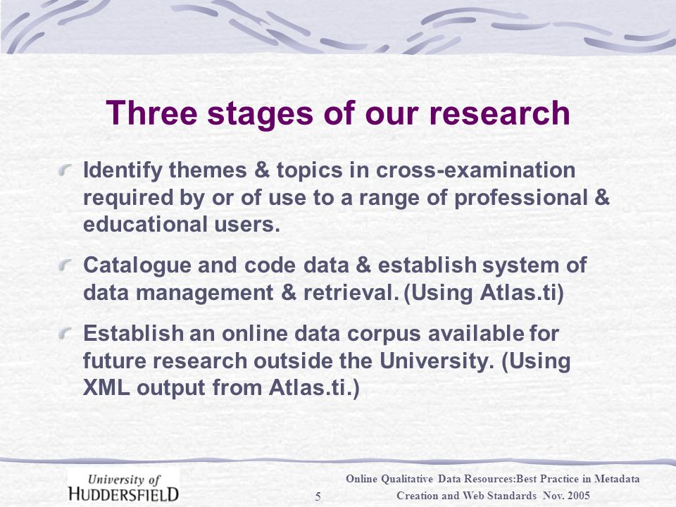 5 Online Qualitative Data Resources:Best Practice in Metadata Creation and Web Standards Nov.