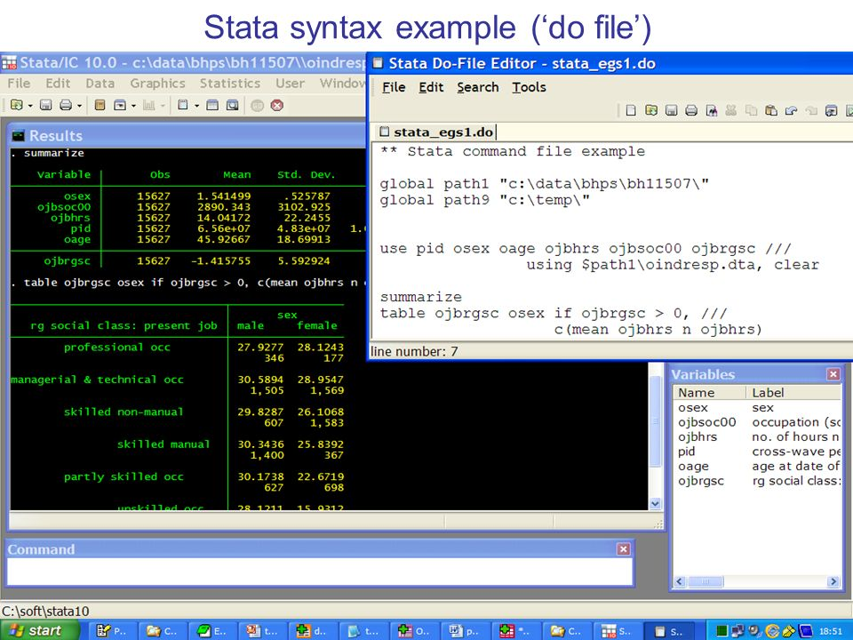 19 Stata syntax example (do file)