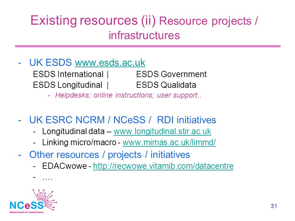 31 Existing resources (ii) Resource projects / infrastructures -UK ESDS www.esds.ac.ukwww.esds.ac.uk ESDS International| ESDS Government ESDS Longitudinal|ESDS Qualidata -Helpdesks; online instructions; user support..