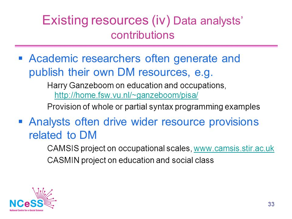 33 Existing resources (iv) Data analysts contributions Academic researchers often generate and publish their own DM resources, e.g.