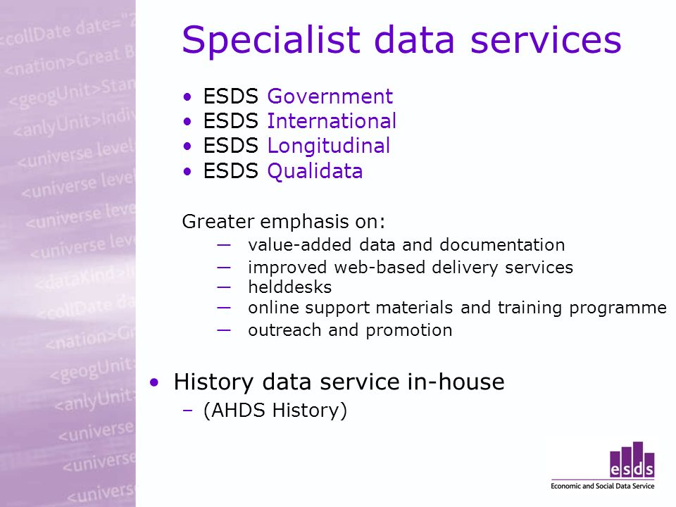 Specialist data services ESDS Government ESDS International ESDS Longitudinal ESDS Qualidata Greater emphasis on: value-added data and documentation improved web-based delivery services helddesks online support materials and training programme outreach and promotion History data service in-house –(AHDS History)