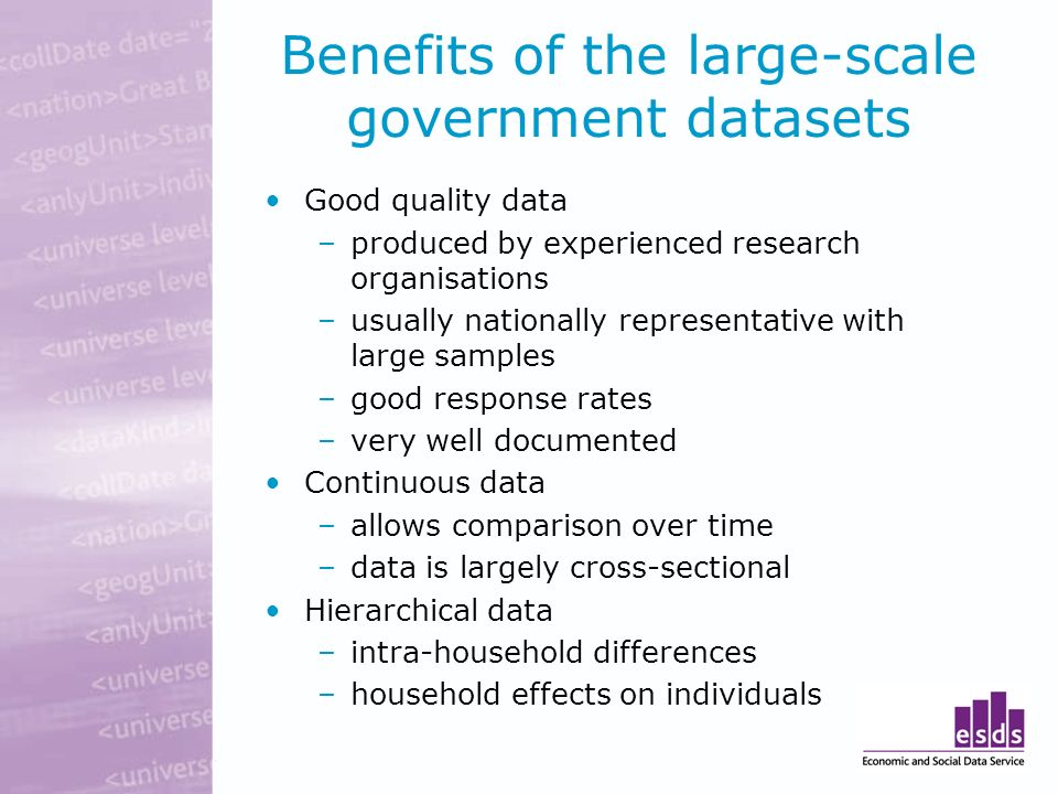 Benefits of the large-scale government datasets Good quality data –produced by experienced research organisations –usually nationally representative with large samples –good response rates –very well documented Continuous data –allows comparison over time –data is largely cross-sectional Hierarchical data –intra-household differences –household effects on individuals
