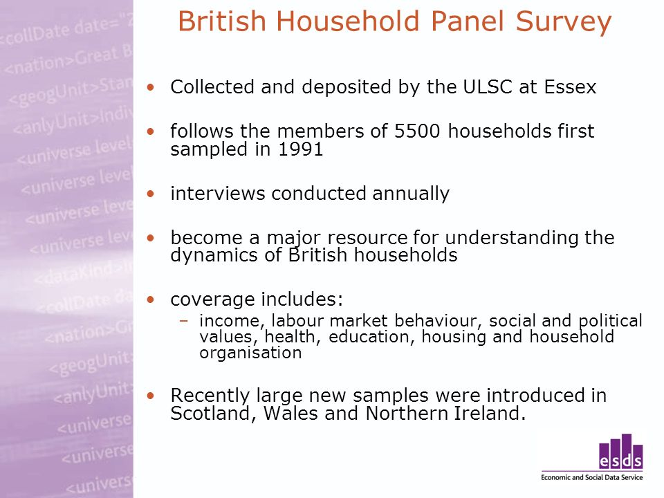 British Household Panel Survey Collected and deposited by the ULSC at Essex follows the members of 5500 households first sampled in 1991 interviews conducted annually become a major resource for understanding the dynamics of British households coverage includes: –income, labour market behaviour, social and political values, health, education, housing and household organisation Recently large new samples were introduced in Scotland, Wales and Northern Ireland.