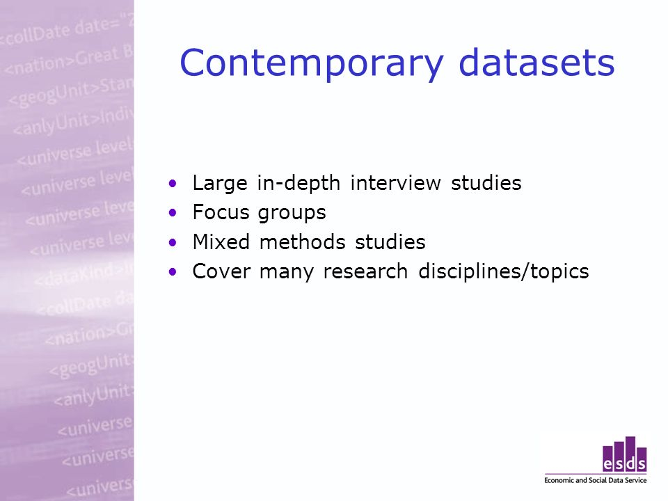 Contemporary datasets Large in-depth interview studies Focus groups Mixed methods studies Cover many research disciplines/topics