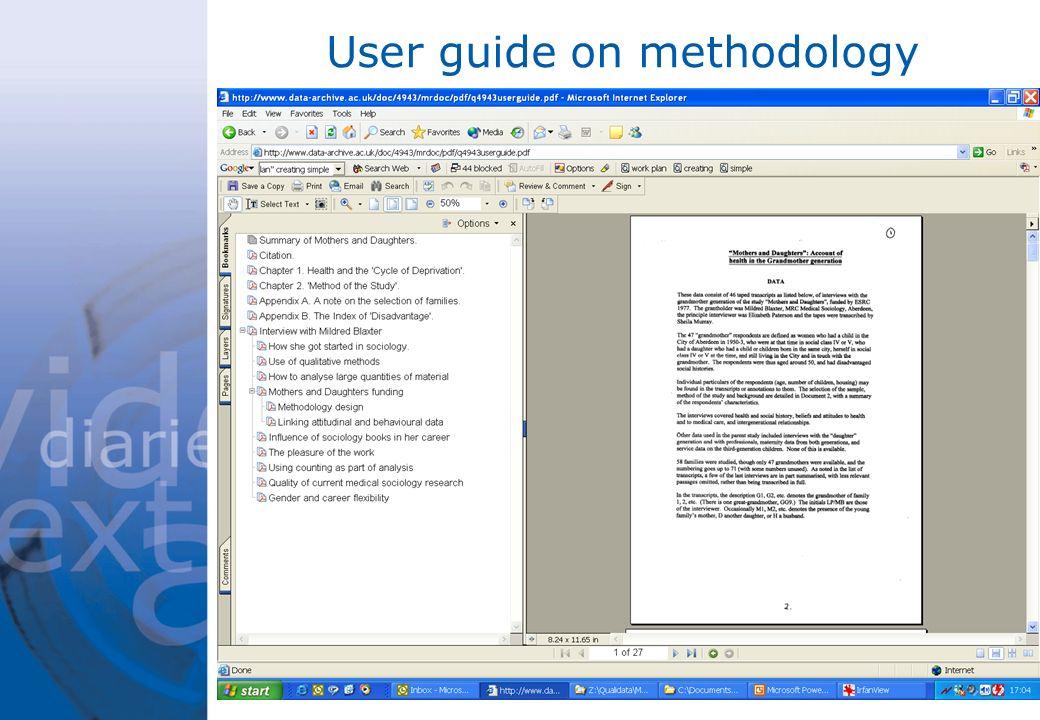 User guide on methodology