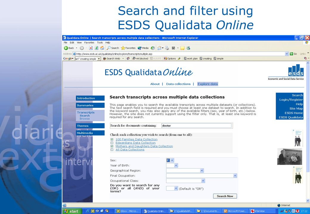 Search and filter using ESDS Qualidata Online