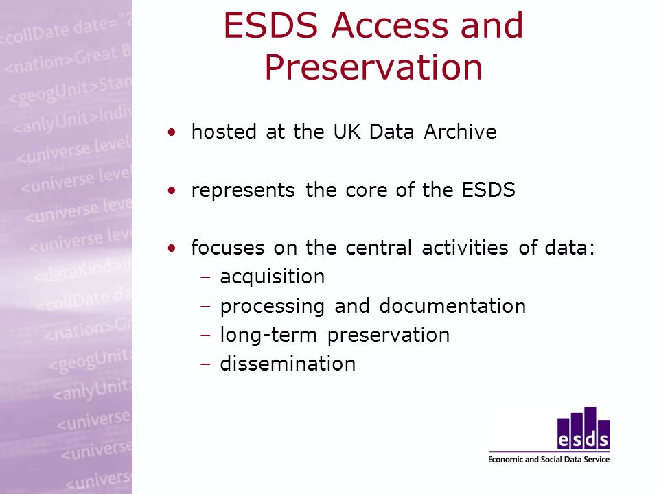 ESDS Access and Preservation hosted at the UK Data Archive represents the core of the ESDS focuses on the central activities of data: –acquisition –processing and documentation –long-term preservation –dissemination