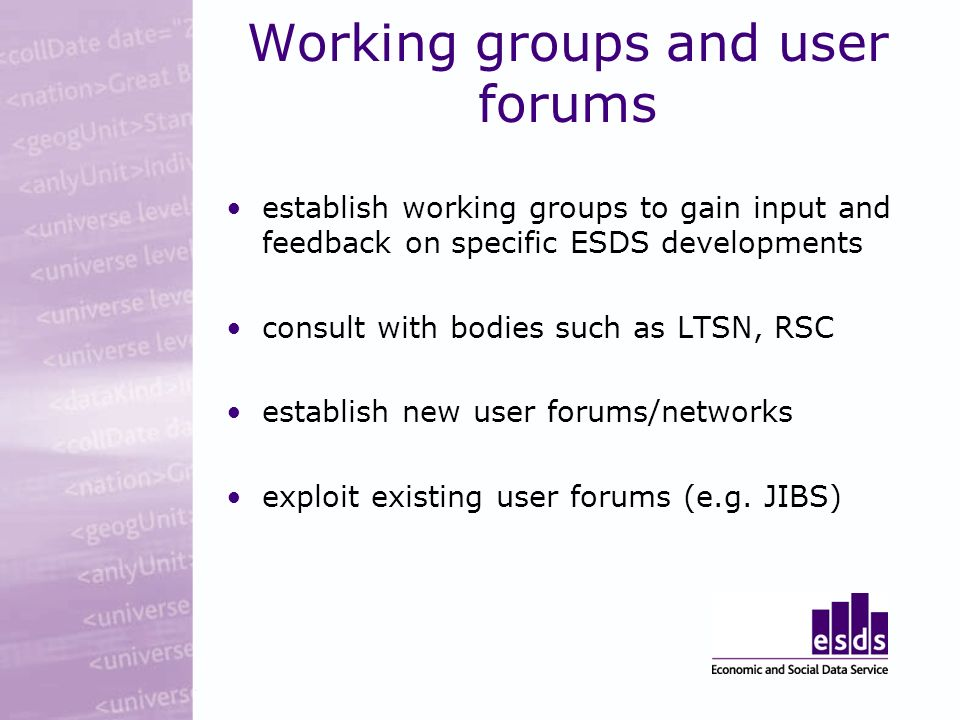 Working groups and user forums establish working groups to gain input and feedback on specific ESDS developments consult with bodies such as LTSN, RSC establish new user forums/networks exploit existing user forums (e.g.