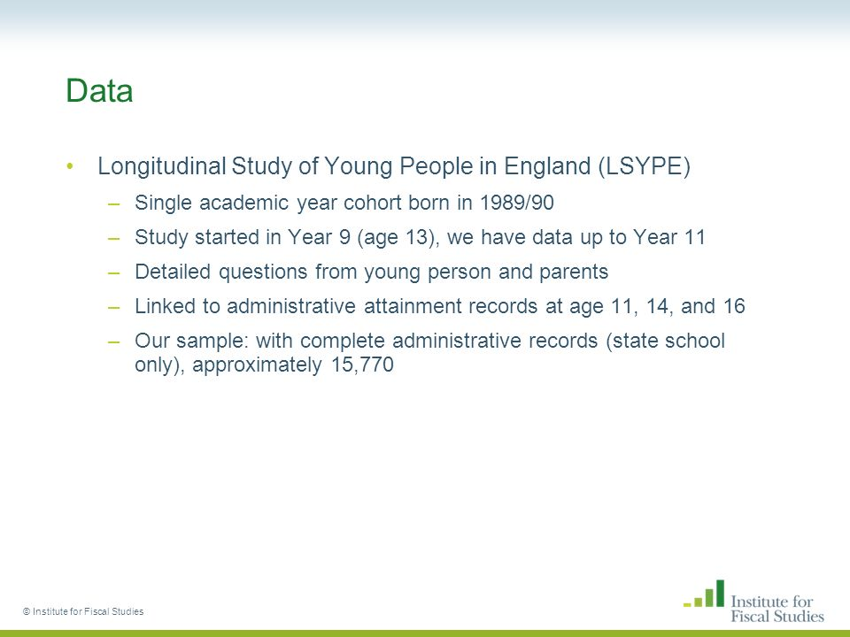Data Longitudinal Study of Young People in England (LSYPE) –Single academic year cohort born in 1989/90 –Study started in Year 9 (age 13), we have data up to Year 11 –Detailed questions from young person and parents –Linked to administrative attainment records at age 11, 14, and 16 –Our sample: with complete administrative records (state school only), approximately 15,770 © Institute for Fiscal Studies
