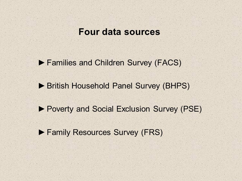 Four data sources Families and Children Survey (FACS) British Household Panel Survey (BHPS) Poverty and Social Exclusion Survey (PSE) Family Resources Survey (FRS)