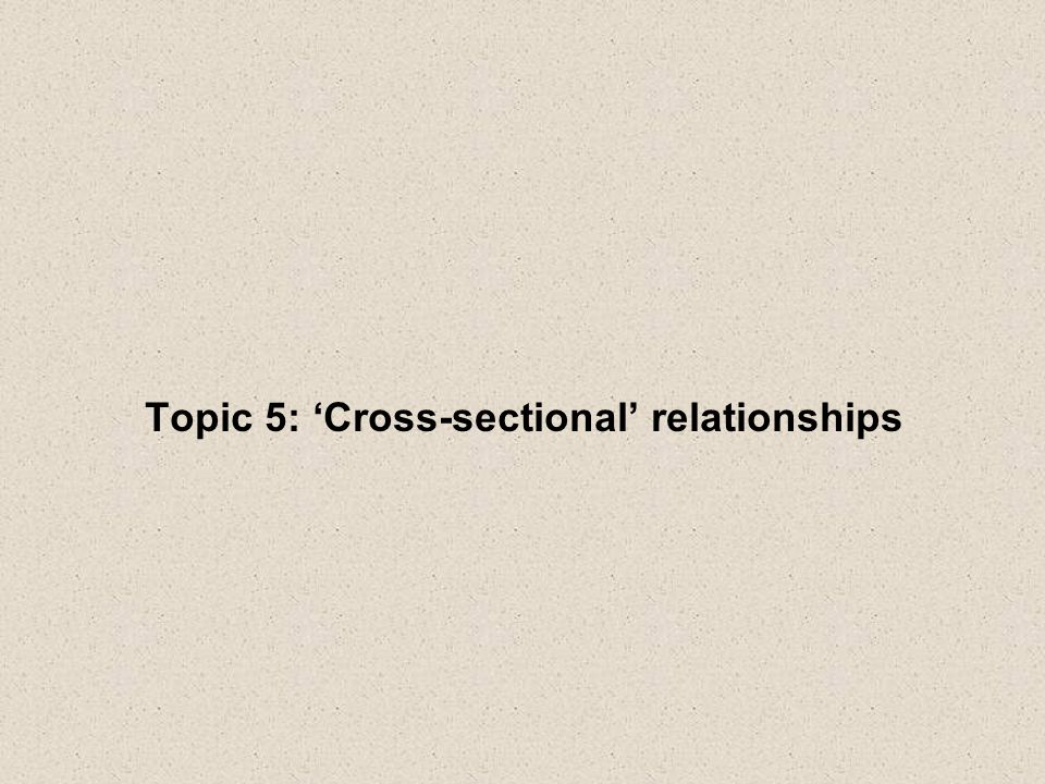 Topic 5: Cross-sectional relationships