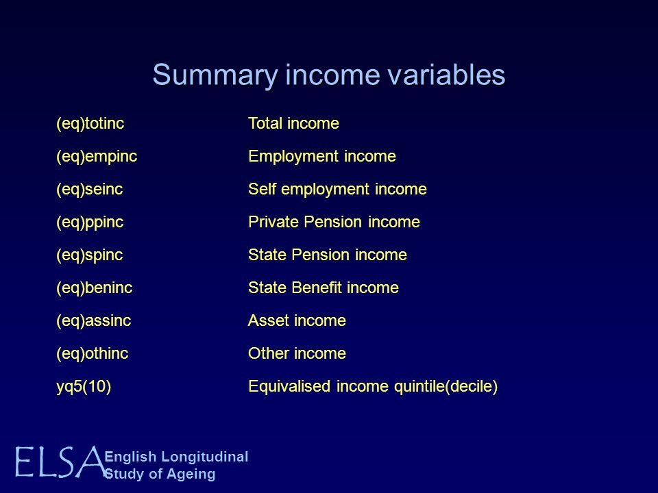 ELSA English Longitudinal Study of Ageing Summary income variables (eq)totincTotal income (eq)empincEmployment income (eq)seincSelf employment income (eq)ppincPrivate Pension income (eq)spincState Pension income (eq)benincState Benefit income (eq)assincAsset income (eq)othincOther income yq5(10)Equivalised income quintile(decile)