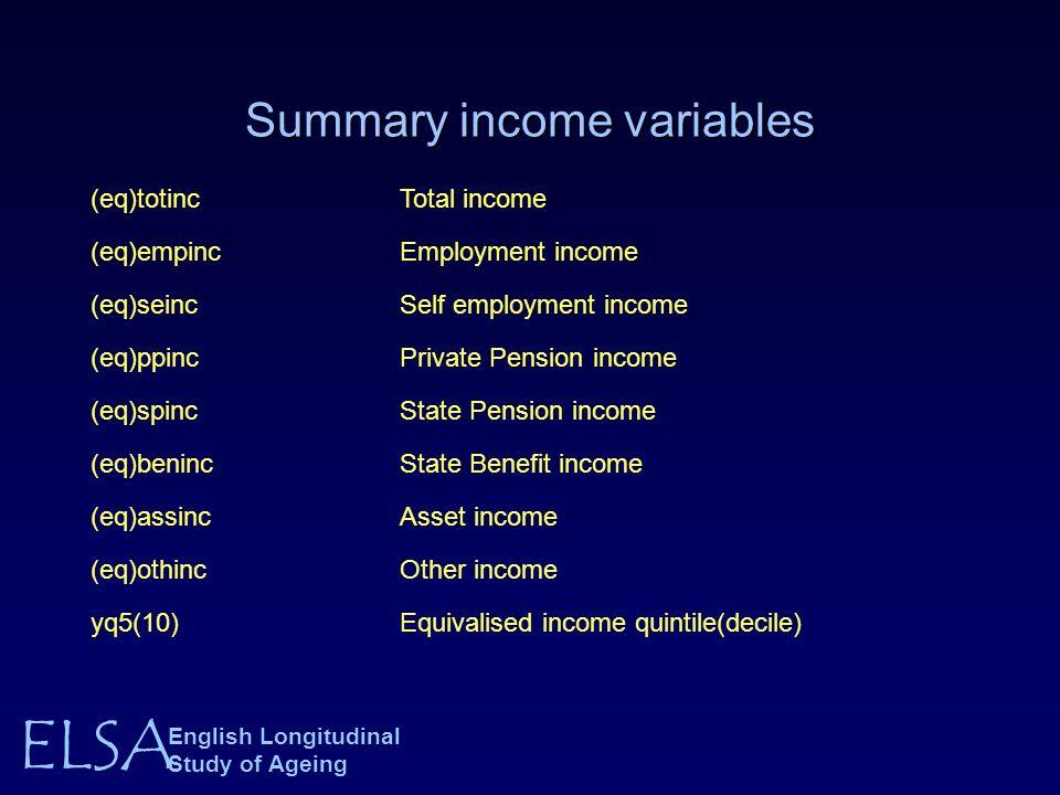 ELSA English Longitudinal Study of Ageing Summary income variables (eq)totincTotal income (eq)empincEmployment income (eq)seincSelf employment income