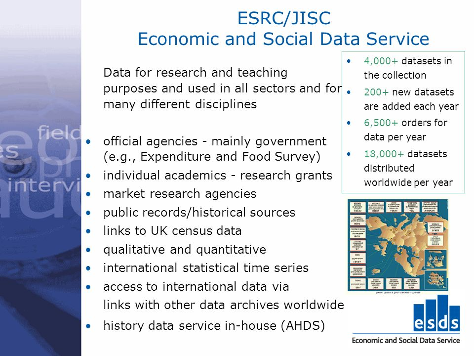 ESRC/JISC Economic and Social Data Service Data for research and teaching purposes and used in all sectors and for many different disciplines official