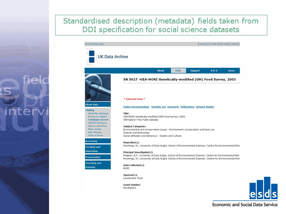 Standardised description (metadata) fields taken from DDI specification for social science datasets