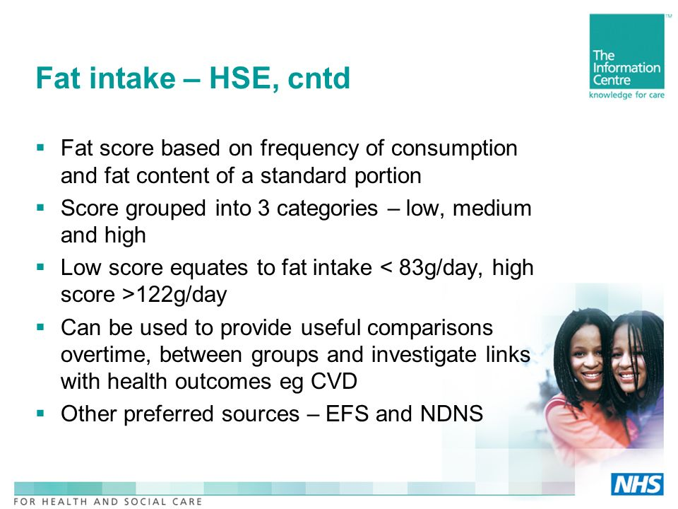Fat intake – HSE, cntd Fat score based on frequency of consumption and fat content of a standard portion Score grouped into 3 categories – low, medium