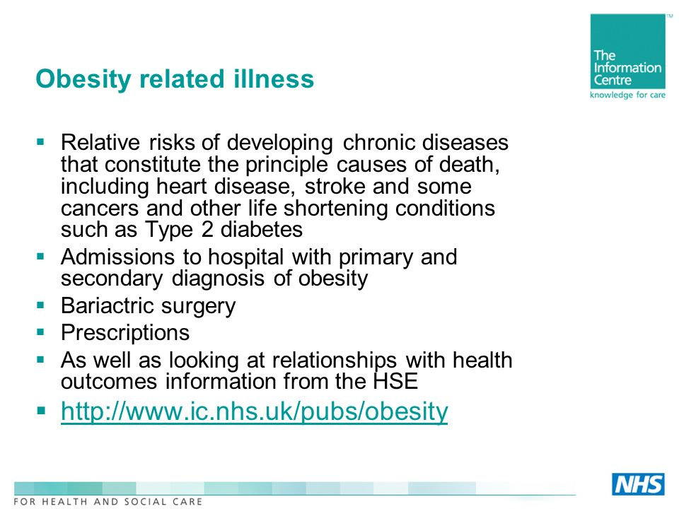 Obesity related illness Relative risks of developing chronic diseases that constitute the principle causes of death, including heart disease, stroke and some cancers and other life shortening conditions such as Type 2 diabetes Admissions to hospital with primary and secondary diagnosis of obesity Bariactric surgery Prescriptions As well as looking at relationships with health outcomes information from the HSE http://www.ic.nhs.uk/pubs/obesity