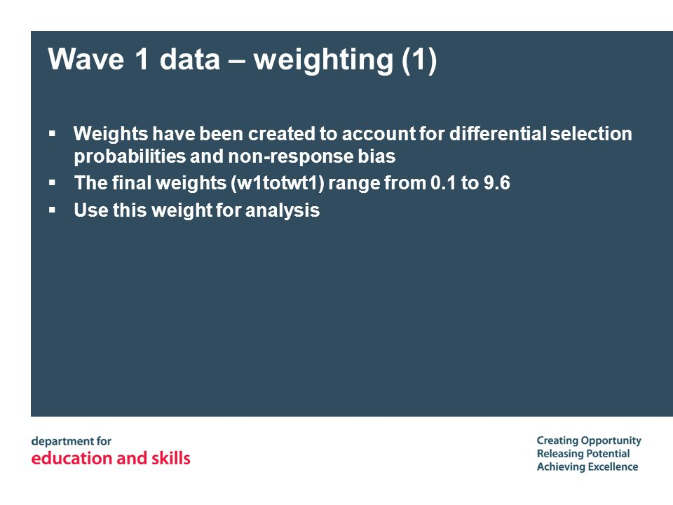 Wave 1 data – weighting (1) Weights have been created to account for differential selection probabilities and non-response bias The final weights (w1t