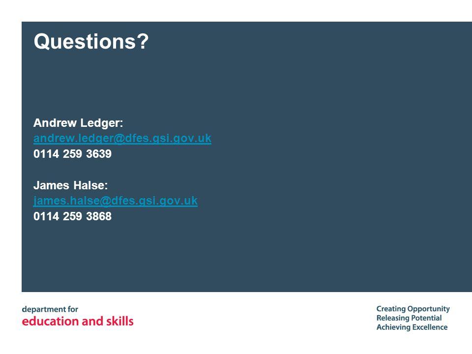 Questions? Andrew Ledger: andrew.ledger@dfes.gsi.gov.uk 0114 259 3639 James Halse: james.halse@dfes.gsi.gov.uk 0114 259 3868