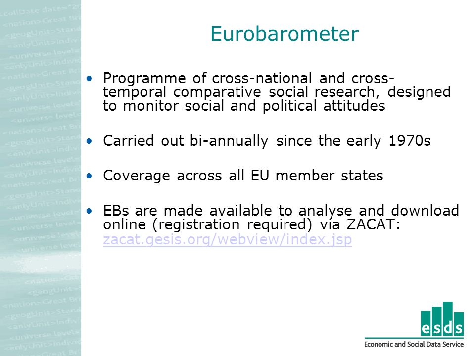 Eurobarometer Programme of cross-national and cross- temporal comparative social research, designed to monitor social and political attitudes Carried out bi-annually since the early 1970s Coverage across all EU member states EBs are made available to analyse and download online (registration required) via ZACAT: zacat.gesis.org/webview/index.jsp zacat.gesis.org/webview/index.jsp