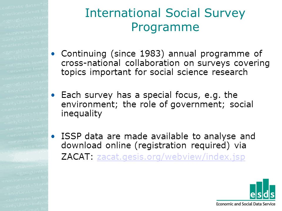 International Social Survey Programme Continuing (since 1983) annual programme of cross-national collaboration on surveys covering topics important for social science research Each survey has a special focus, e.g.