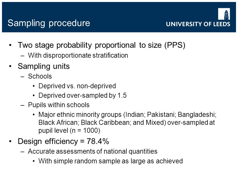 Sampling procedure Two stage probability proportional to size (PPS) –With disproportionate stratification Sampling units –Schools Deprived vs. non-dep