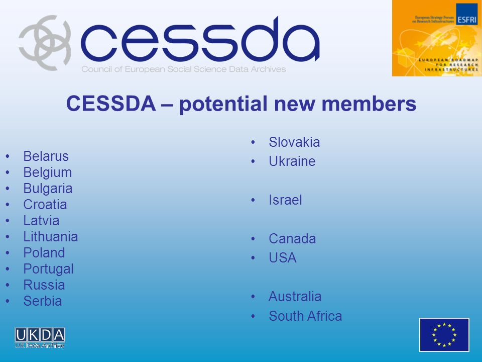 CESSDA – potential new members Slovakia Ukraine Israel Canada USA Australia South Africa Belarus Belgium Bulgaria Croatia Latvia Lithuania Poland Port