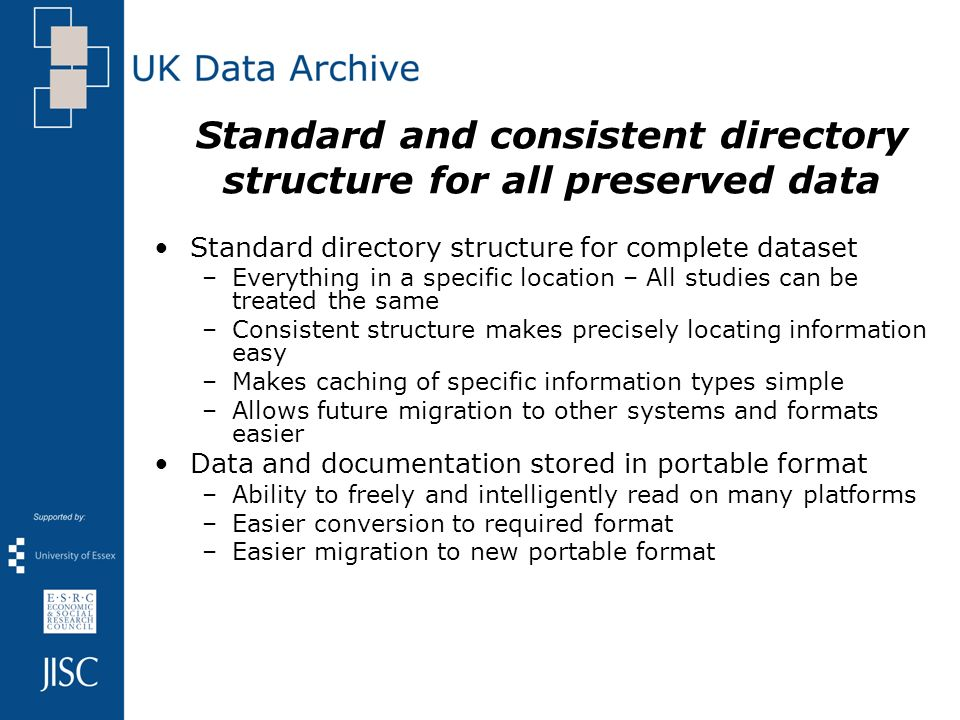 Standard and consistent directory structure for all preserved data Standard directory structure for complete dataset –Everything in a specific location – All studies can be treated the same –Consistent structure makes precisely locating information easy –Makes caching of specific information types simple –Allows future migration to other systems and formats easier Data and documentation stored in portable format –Ability to freely and intelligently read on many platforms –Easier conversion to required format –Easier migration to new portable format