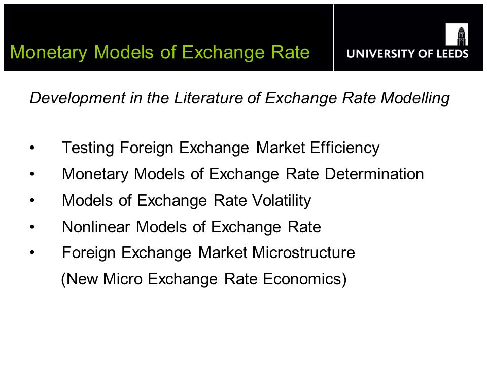 Development in the Literature of Exchange Rate Modelling Testing Foreign Exchange Market Efficiency Monetary Models of Exchange Rate Determination Mod