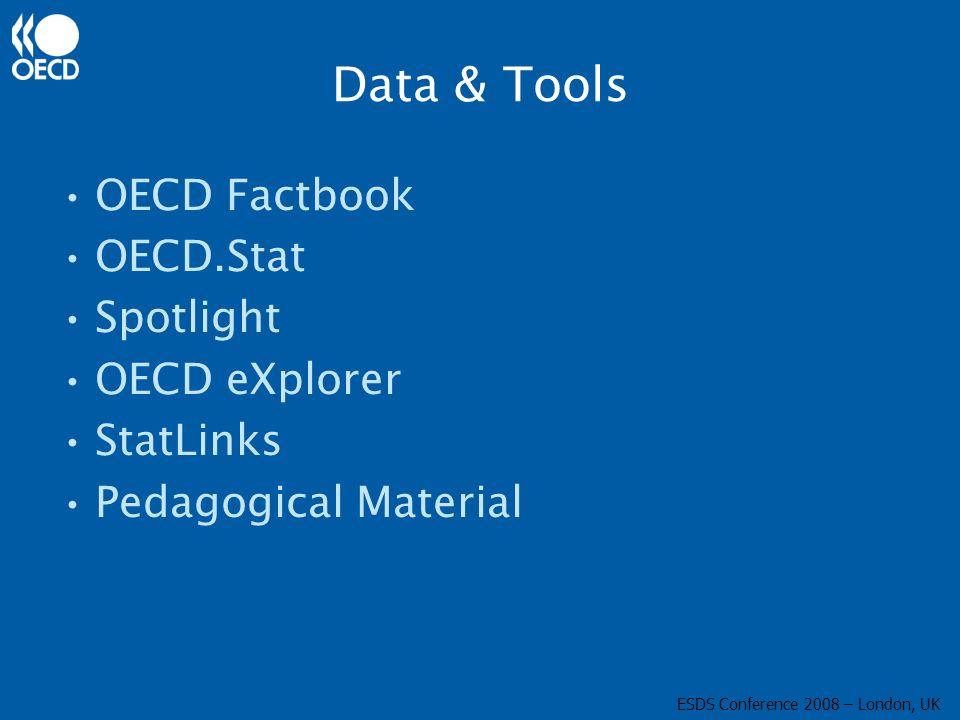 Data & Tools OECD Factbook OECD.Stat Spotlight OECD eXplorer StatLinks Pedagogical Material ESDS Conference 2008 – London, UK