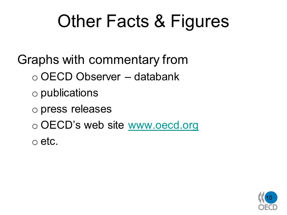 Other Facts & Figures Graphs with commentary from o OECD Observer – databank o publications o press releases o OECDs web site www.oecd.orgwww.oecd.org o etc.