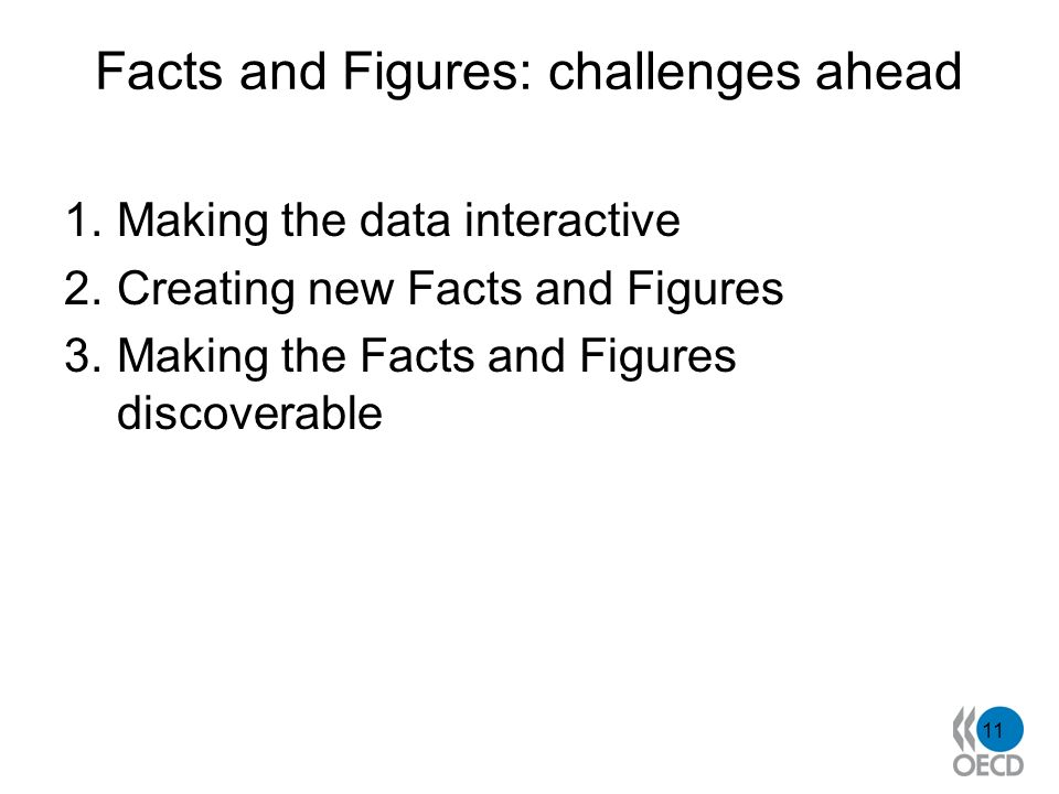 Facts and Figures: challenges ahead 1.Making the data interactive 2.Creating new Facts and Figures 3.Making the Facts and Figures discoverable 11