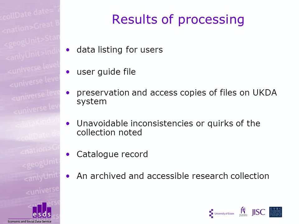 Results of processing data listing for users user guide file preservation and access copies of files on UKDA system Unavoidable inconsistencies or quirks of the collection noted Catalogue record An archived and accessible research collection