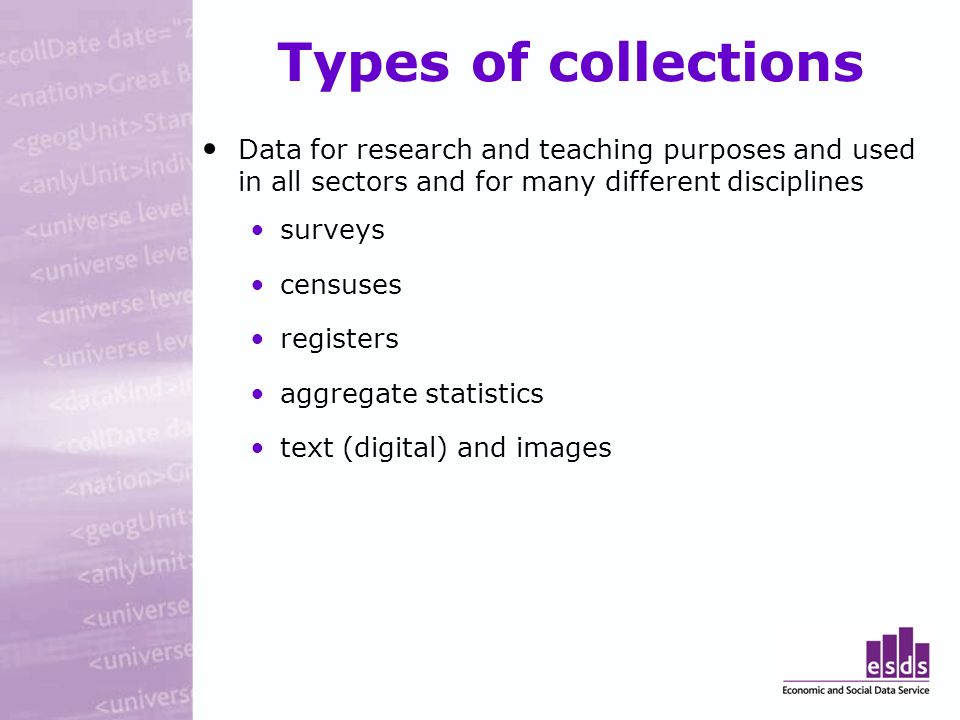 Types of collections Data for research and teaching purposes and used in all sectors and for many different disciplines surveys censuses registers aggregate statistics text (digital) and images