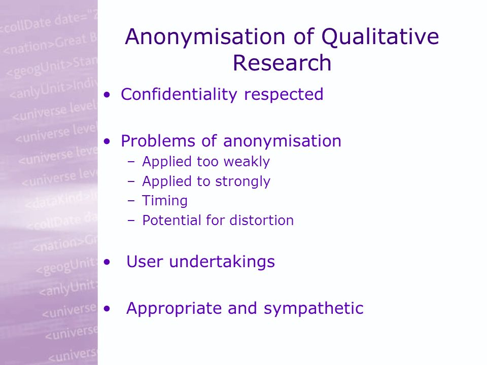 Anonymisation of Qualitative Research Confidentiality respected Problems of anonymisation –Applied too weakly –Applied to strongly –Timing –Potential for distortion User undertakings Appropriate and sympathetic