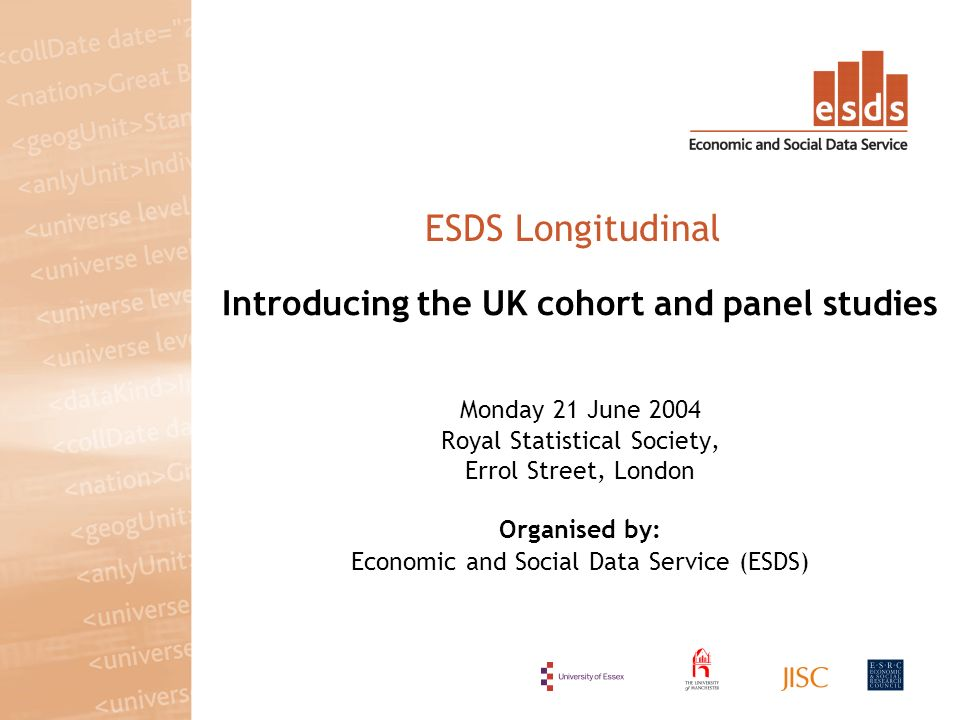 Introducing the UK cohort and panel studies Monday 21 June 2004 Royal Statistical Society, Errol Street, London Organised by: Economic and Social Data Service (ESDS) ESDS Longitudinal
