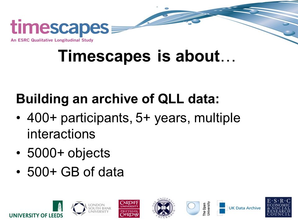 Timescapes is about… Building an archive of QLL data: 400+ participants, 5+ years, multiple interactions 5000+ objects 500+ GB of data
