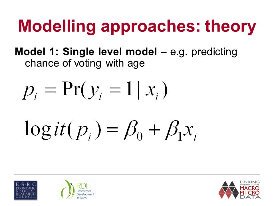 Modelling approaches: theory Model 1: Single level model – e.g. predicting chance of voting with age