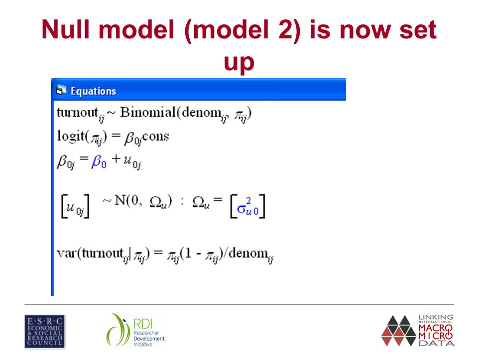 Null model (model 2) is now set up