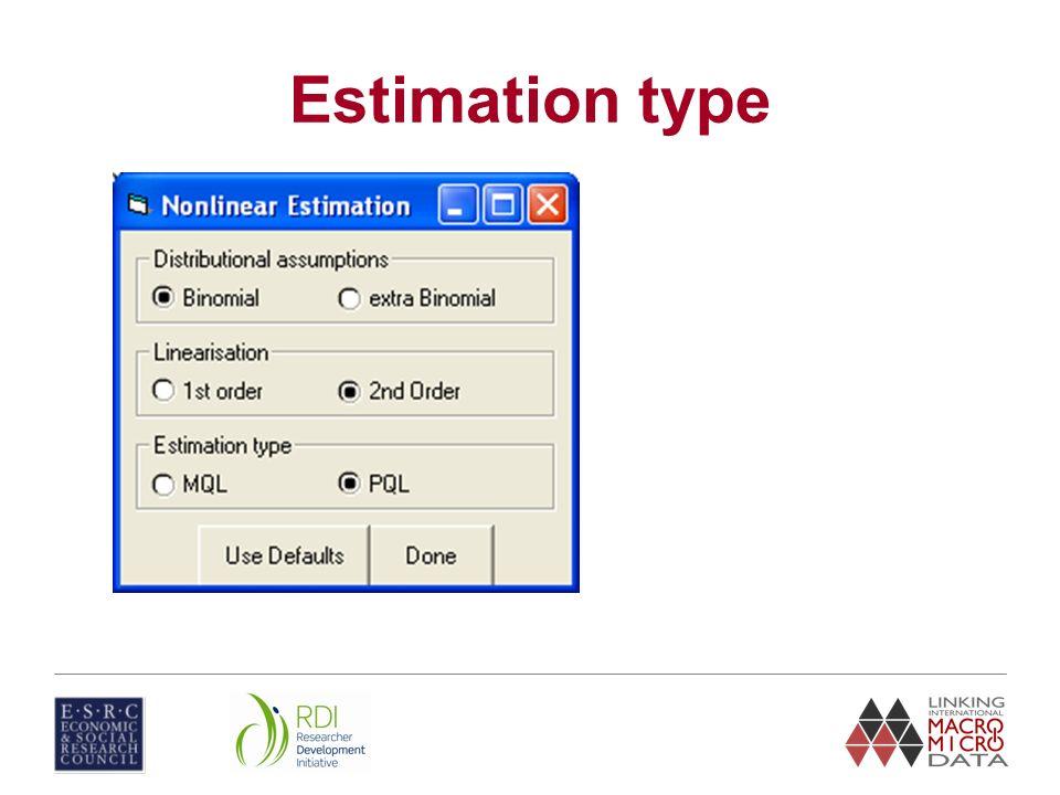 Estimation type