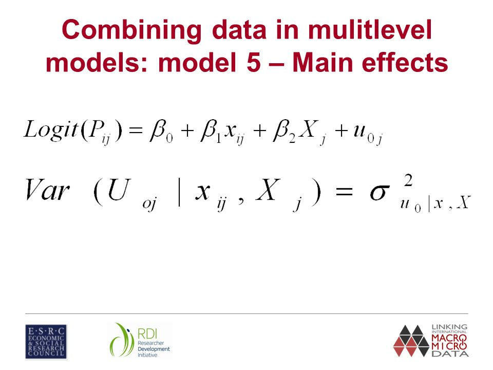 Combining data in mulitlevel models: model 5 – Main effects