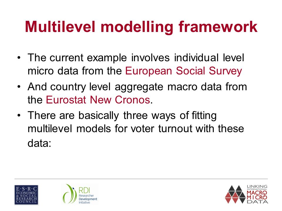 Multilevel modelling framework The current example involves individual level micro data from the European Social Survey And country level aggregate ma