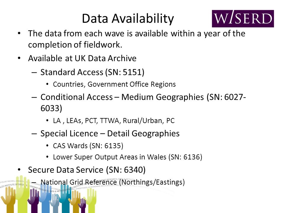 Data Availability The data from each wave is available within a year of the completion of fieldwork. Available at UK Data Archive – Standard Access (S