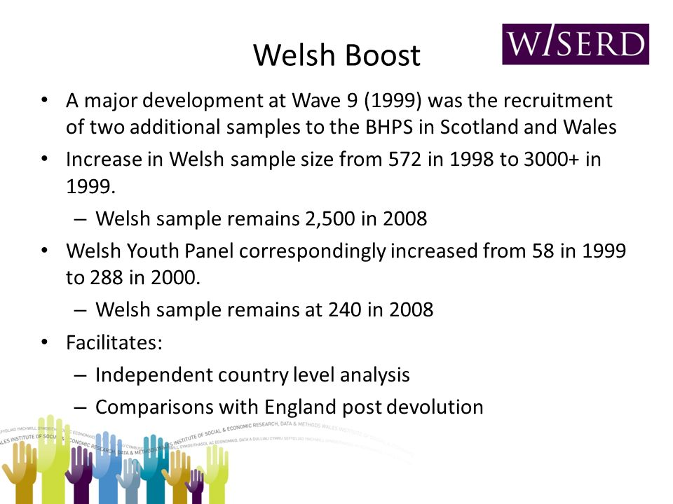 Welsh Boost A major development at Wave 9 (1999) was the recruitment of two additional samples to the BHPS in Scotland and Wales Increase in Welsh sample size from 572 in 1998 to 3000+ in 1999.