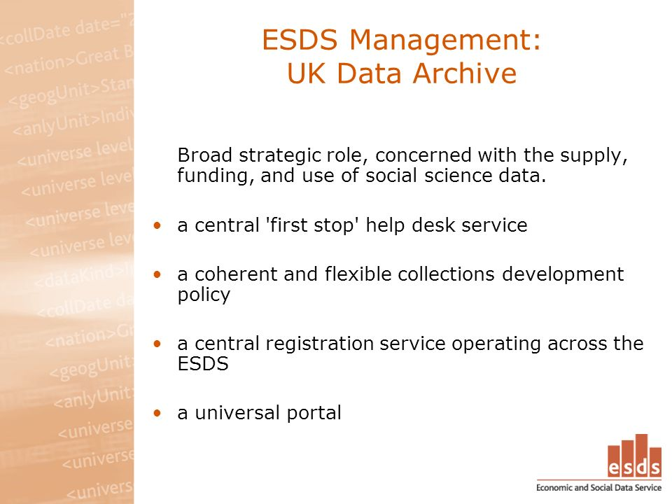 ESDS Access and Preservation: UK Data Archive Focuses on the central activities of data acquisition, processing, preservation and dissemination.