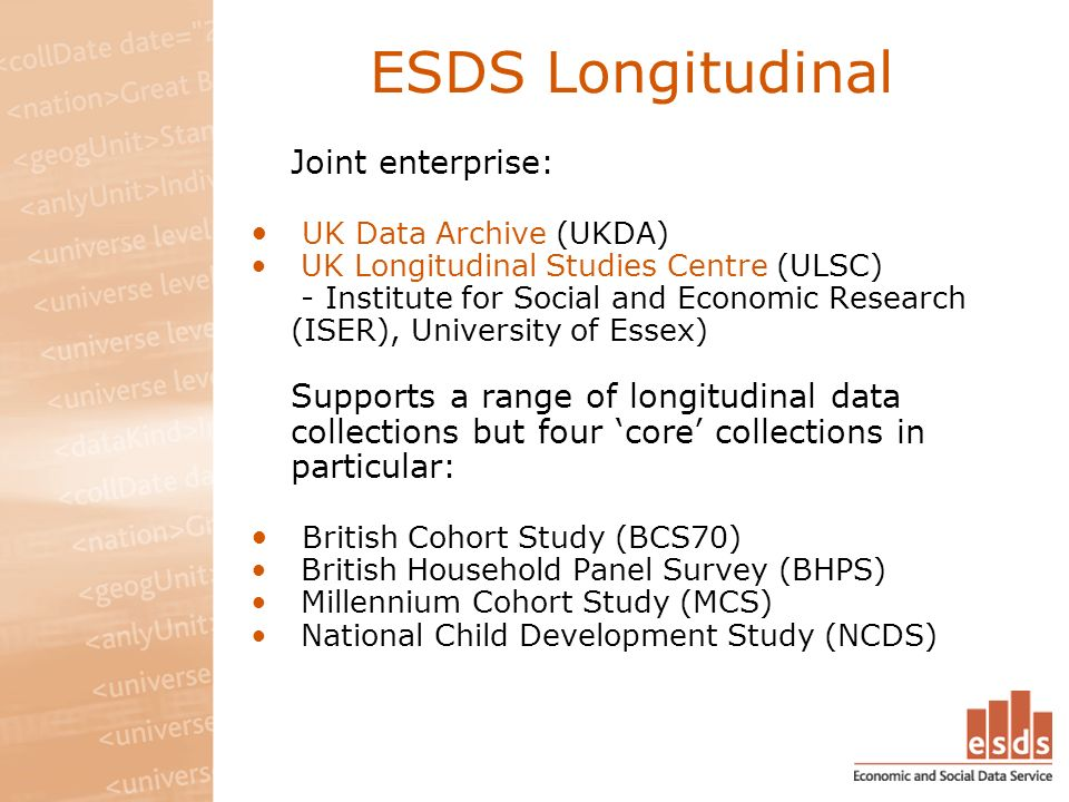 ESDS Longitudinal Joint enterprise: UK Data Archive (UKDA) UK Longitudinal Studies Centre (ULSC) - Institute for Social and Economic Research (ISER), University of Essex) Supports a range of longitudinal data collections but four core collections in particular: British Cohort Study (BCS70) British Household Panel Survey (BHPS) Millennium Cohort Study (MCS) National Child Development Study (NCDS)
