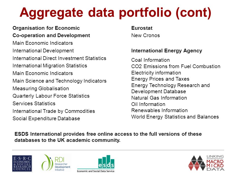 Aggregate data portfolio (cont) Organisation for Economic Co-operation and Development Main Economic Indicators International Development International Direct Investment Statistics International Migration Statistics Main Economic Indicators Main Science and Technology Indicators Measuring Globalisation Quarterly Labour Force Statistics Services Statistics International Trade by Commodities Social Expenditure Database Eurostat New Cronos International Energy Agency Coal Information CO2 Emissions from Fuel Combustion Electricity information Energy Prices and Taxes Energy Technology Research and Development Database Natural Gas Information Oil Information Renewables Information World Energy Statistics and Balances ESDS International provides free online access to the full versions of these databases to the UK academic community.